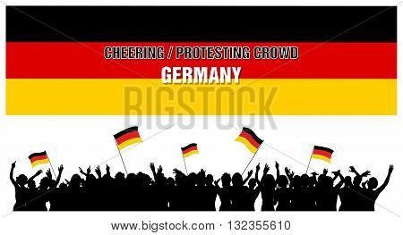 Germany silhouettes of cheering or protesting crowd of people with German flags and banners.