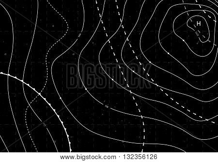 Black Abstract Weather Map. Contour Card Background. Meteorological Linear Pattern. Vector Temperature Card.