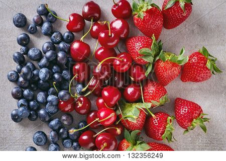 Summer Berries On Stone Table, From Above