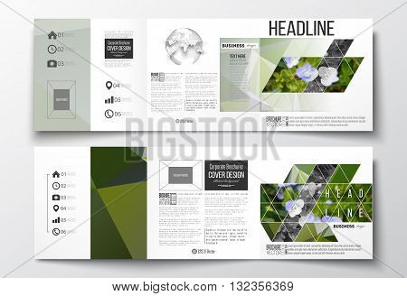 Vector set of tri-fold brochures, square design templates with element of world globe. Polygonal floral background, blurred image, blue flowers in green grass closeup, modern triangular texture
