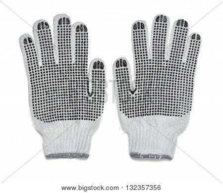 Pair of white knitted gloves with rubber-covered  side.  Protective gloves for working with hands. Cover and hand-protection. Gardening. Type of clothing.