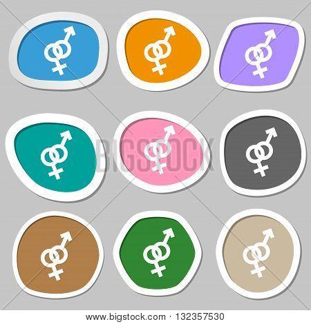 Male And Female Symbols. Multicolored Paper Stickers. Vector