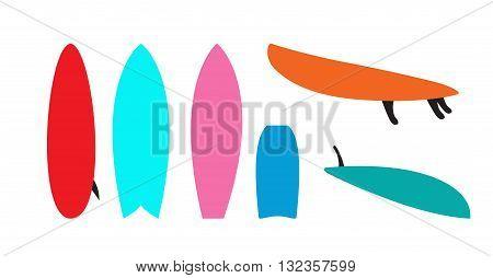 Set of windsurfing boards. Vector Illustration. EPS10