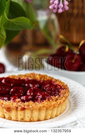 Summer Berry Pie. Tart, Pie, Cake Shortbread With Cherries. Selective Focus