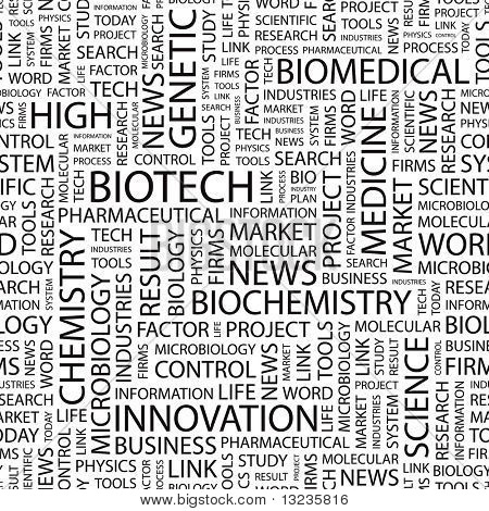 BIOTECH. Seamless vector pattern with word cloud. Illustration with different association terms.