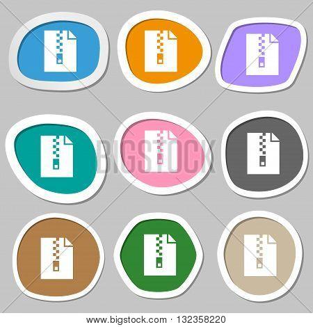 Computer Zip Folder, Archive Symbols. Multicolored Paper Stickers. Vector