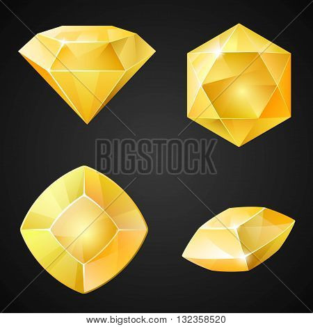 Set of yellow gemstones. 2d cristal asset for games collection. Vector illustration.