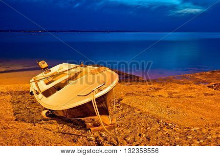 Fishermen boat by the sea evening view Zadar Croatia