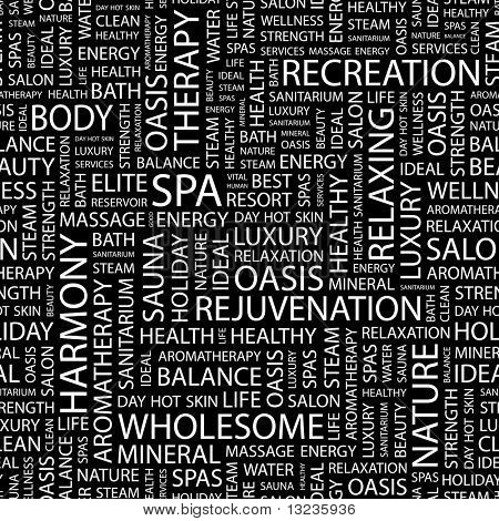 SPA. Seamless vector pattern with word cloud. Illustration with different association terms.