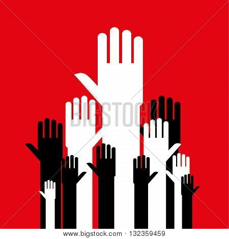 Stylized open hands in black and white reaching up together as a group or crowd against a red background