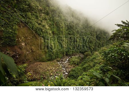 River flowing through a deep canyon at Cerro Dantas national reserve in Costa Rica