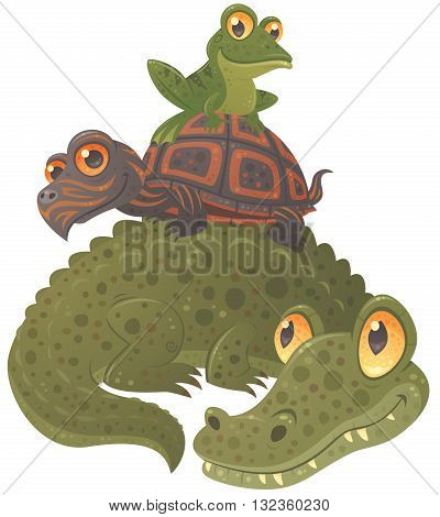 Swamp Squad. Cartoon vector illustration of an alligator, a turtle and a frog hanging out together, stacked in a pyramid.