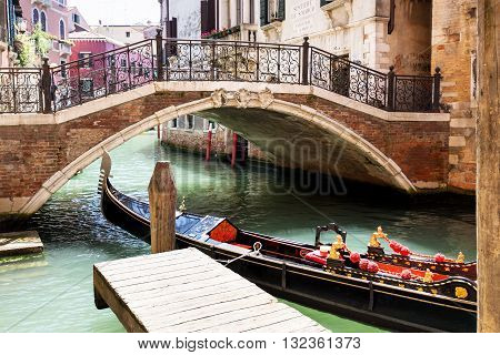 Gondola in Venice near San Marco Place