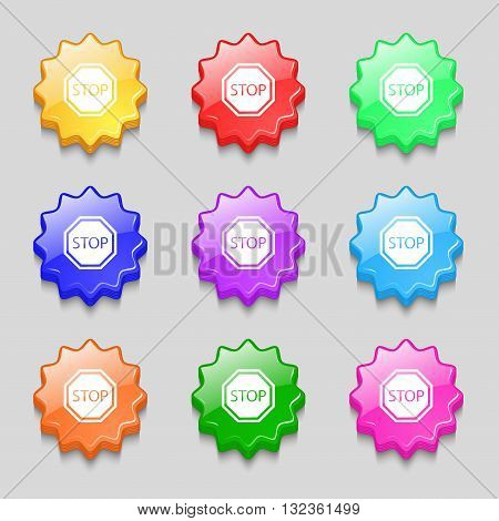Stop Icon Sign. Symbol On Nine Wavy Colourful Buttons. Vector