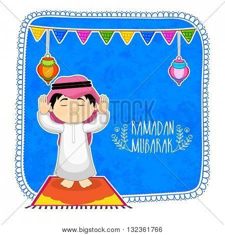 Praying Arabian Boy on hanging lamps and buntings decorated background, Elegant greeting card design for Islamic Holy Month of Prayers, Ramadan Kareem celebration.