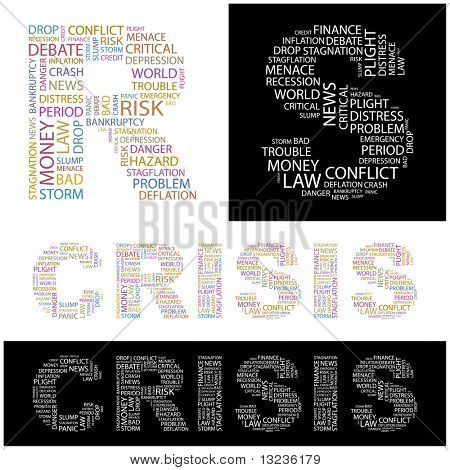CRISIS. Word collage. Illustration with different association terms.