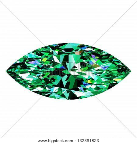 Green Emerald Marquise On White Background. 3D Illustration.