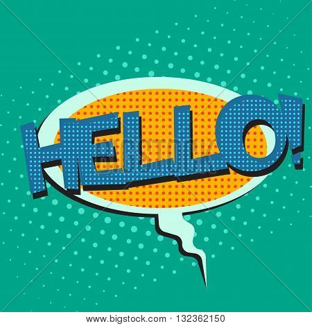 Pop art speech bubble with text Hello, Hello comic book speech bubble, colorful Hello speech bubble on a dots pattern backgrounds in pop-art retro style, vector