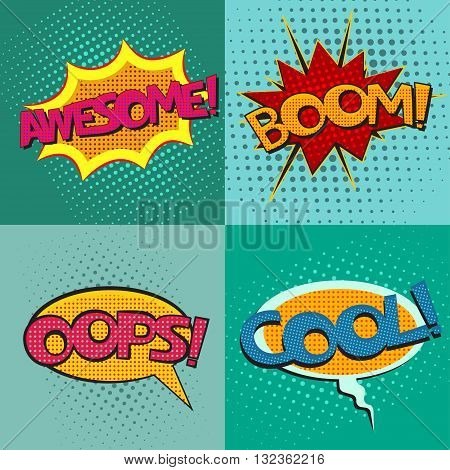 Pop art speech bubbles set with texts Awesome Boom Oops Cool, comic book speech bubbles set, colorful speech bubbles set with texts on a dots pattern backgrounds in pop-art retro style, vector