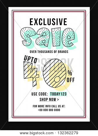 Exclusive Sale Poster, Sale Banner, Sale Flyer, Upto 40% Discount Offer, Creative vector illustration.