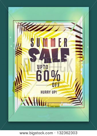 Summer Sale Poster, Sale Banner, Sale Flyer, Upto 60% Off, Creative Sale Background with illustration of beautiful leaves.