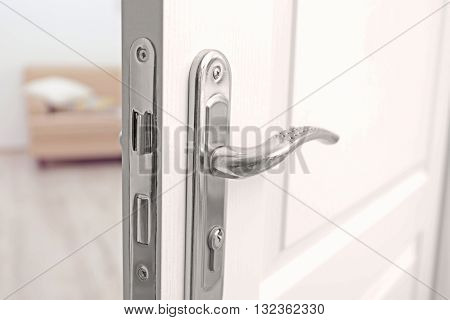 Metal door knob closeup