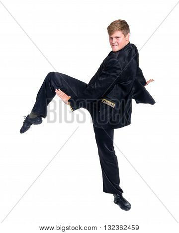 Disco dancer showing some movements against isolated white background