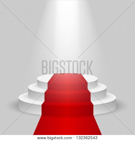 Realistic contest scene with the Red carpet and the spotlight, the Red carpet on empty white podium, place for product placement for presentation, winners podium or stage with the Red carpet, vector