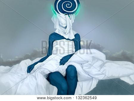 Body of abstract woman, PS drawing. Blue color with white fabric.
