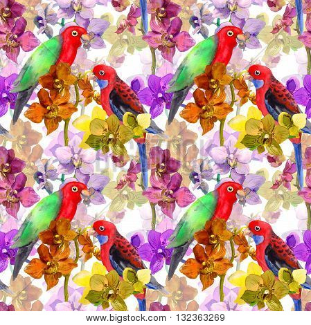 Exotic floral repeating  repeating pattern - parrot bird, blooming orchid flowers. Seamless wallpaper in watercolour.