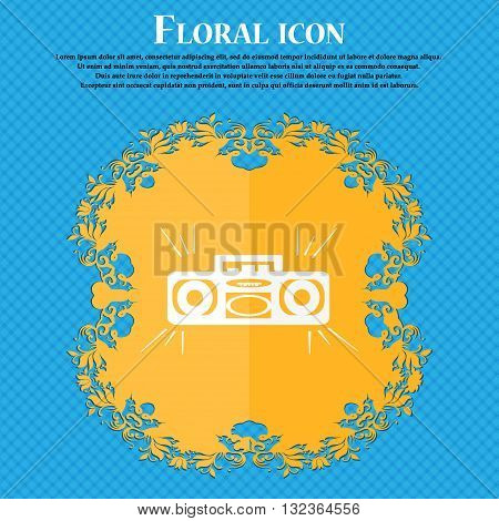 Radio Cassette Player Icon. Floral Flat Design On A Blue Abstract Background With Place For Your Tex