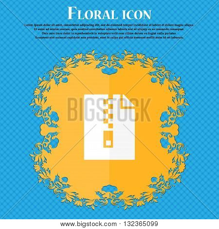 Computer Zip Folder, Archive Icon. Floral Flat Design On A Blue Abstract Background With Place For Y