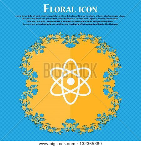 Atom, Physics Icon. Floral Flat Design On A Blue Abstract Background With Place For Your Text. Vecto