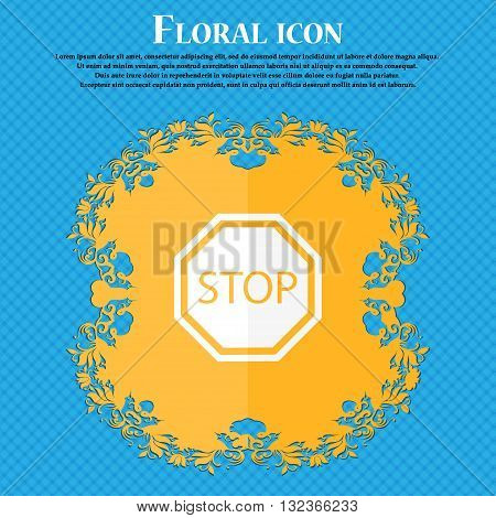 Stop Icon. Floral Flat Design On A Blue Abstract Background With Place For Your Text. Vector