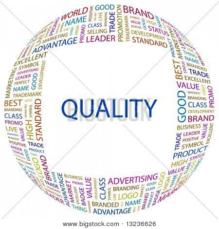QUALITY. Word collage on white background. Illustration with different association terms.
