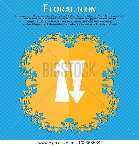 Two Way Traffic, Icon. Floral Flat Design On A Blue Abstract Background With Place For Your Text. Ve