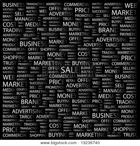 SALE. Word collage on black background. Illustration with different association terms.