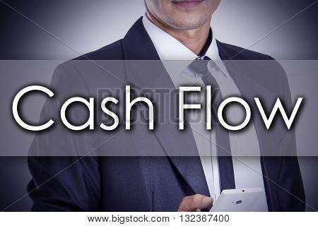 Cash Flow - Young Businessman With Text - Business Concept