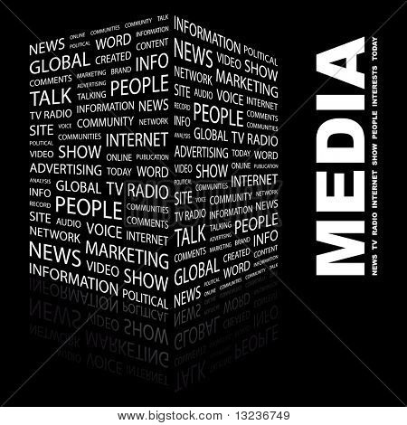 MEDIA. Word collage on black background. Illustration with different association terms.