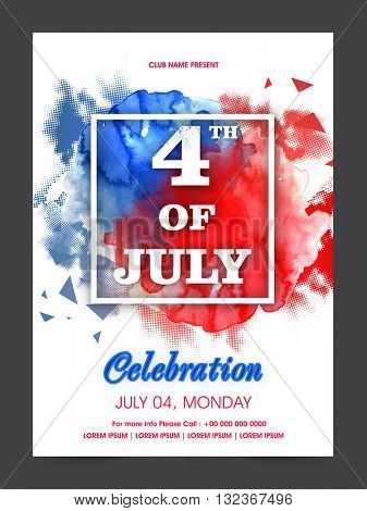 White Text 4th of July on abstract flag colors splash background, Creative Pamphlet, Banner, Flyer or Invitation for American Independence Day celebration.