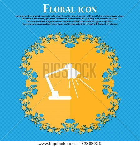 Reading-lamp Icon. Floral Flat Design On A Blue Abstract Background With Place For Your Text. Vector