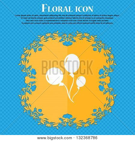 Balloons Icon. Floral Flat Design On A Blue Abstract Background With Place For Your Text. Vector