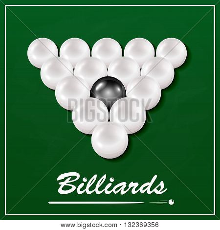 The inscription Billiards and billiard table with balls, set of white billiard balls and one black billiard ball on a green cloth background, illustration.