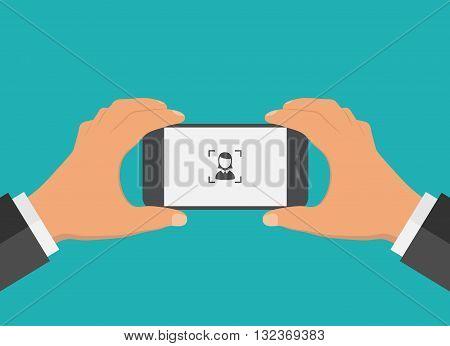 Flat design mobile phone foto concept. Vector illustration.