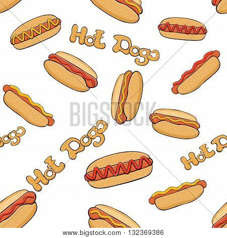 Hot dog seamless background, wallpaper with hot dogs on white background, fast food with sausage and bun, set of hot dogs with mustard and ketchup, illustration.