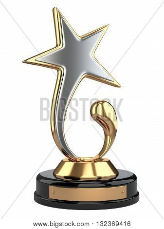 Golden and silver star award. 3d image isolated on a white background