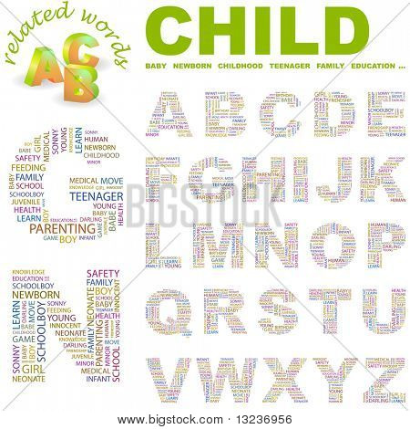CHILD. Vector letter collection. Illustration with different association terms.
