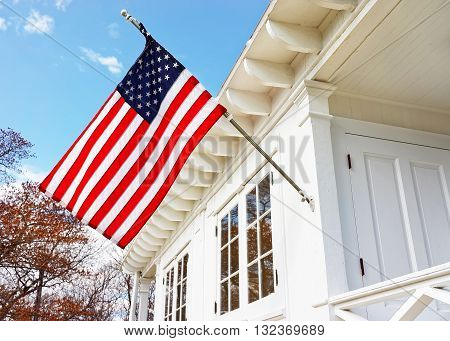 American Flag On Sandy Hook Light House Museum