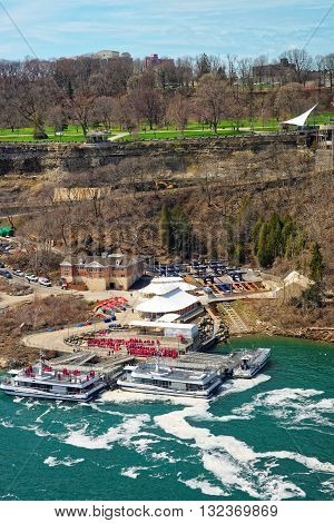 Boats In Niagara River And View Of Ontario In Canada