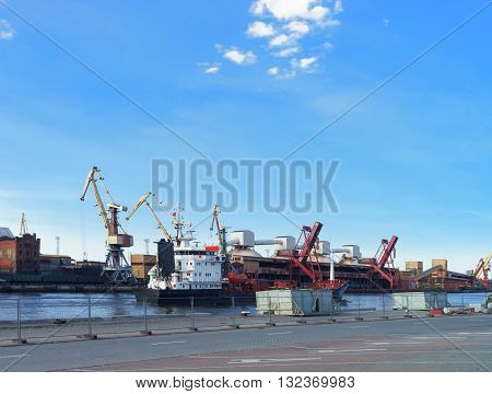 Dry Cargo Vessel And Bunkers At Marina In Ventspils